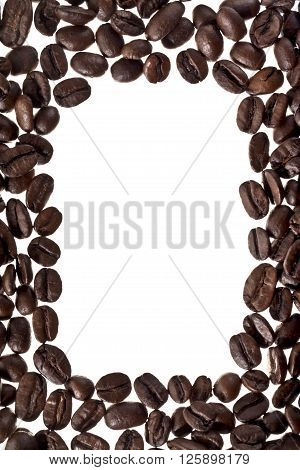 frame made of coffee beans isolated on a white background