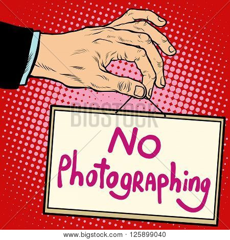 Hand sign no photorgaphing pop art retro style. Lettering plate name text input.