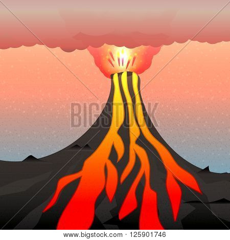 Vector illustration of an active volcano. The explosion of magma, lava and volcano. A cloud of poisonous gas and ash.