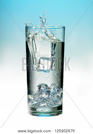 image of ice in water with splash