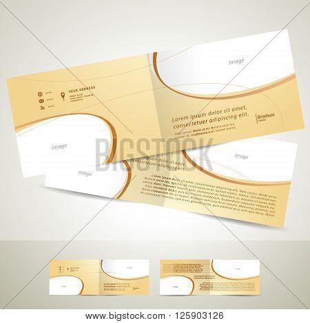 brochure design template booklet biege curve line