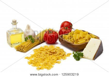 ingredients for pasta isolated on a white background