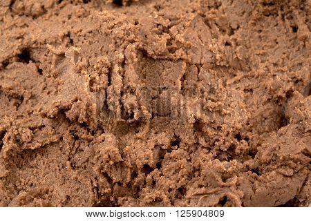 Image of macro shot of chocolate ice cream