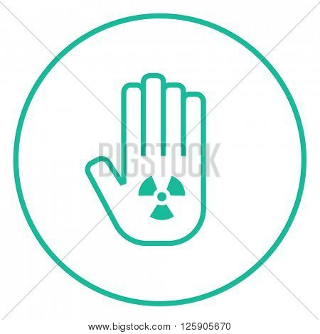 Ionizing radiation sign on a palm line icon.