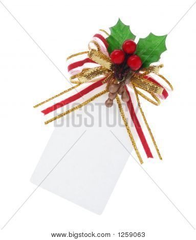 Christmas Tag Tied With Clipping Path