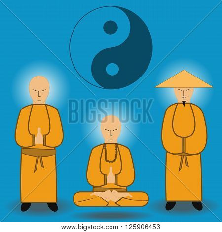 Vector illustration of chinese shaolin monks . Ancient kung-fu fighters.