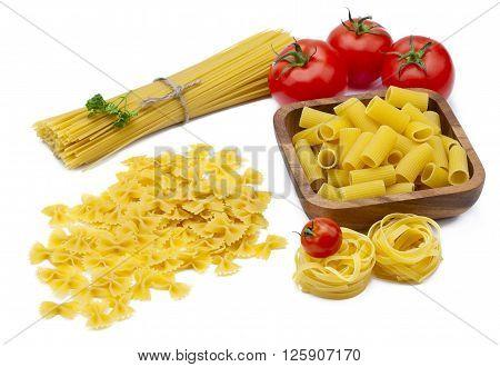 Image of pasta ingredients isolated on white background