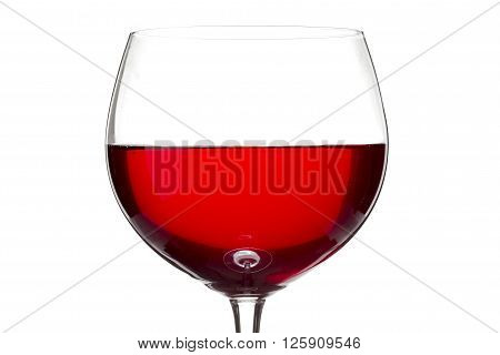red wine in wine glass isolated on white background