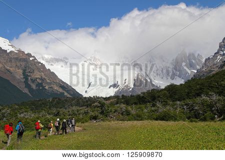 El Chalten, Argentina, December 24 : Walkers On Paths Of Fitz Roy Range, On December 24, 2013 In El