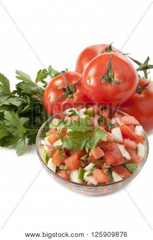 salsa fresca on bowl isolated on white background