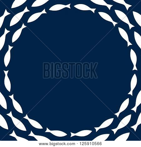 Navy blue and white simple fishes circle frame, vector background