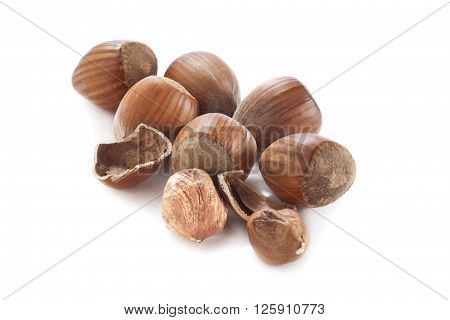 small pile of hazel nuts isolated on white background