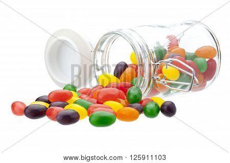 Image of spilt beans isolated on white background