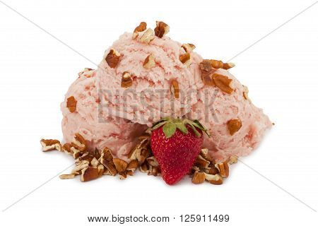 strawberry ice cream with nuts isolated on white background