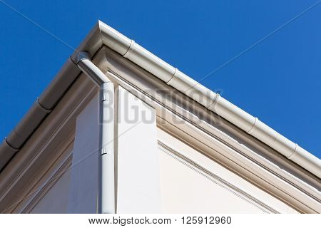 White Metal Roof Gutter