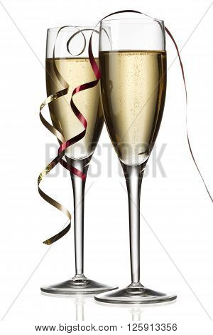 two glasses of white wine isolated on white background