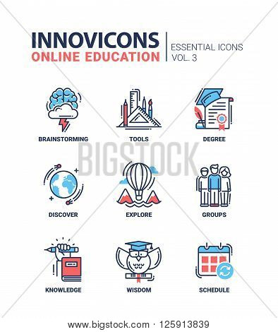 Online Education Icons Set Brainstorming tools wisdom discover explore group schedule degree knowledge