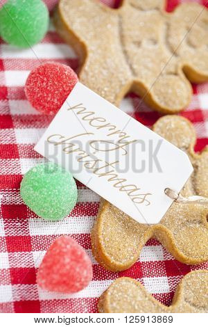 View Of A Merry Christmas Tag With Gingerbread Candies