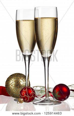 white wine with christmas decor isolated on white background