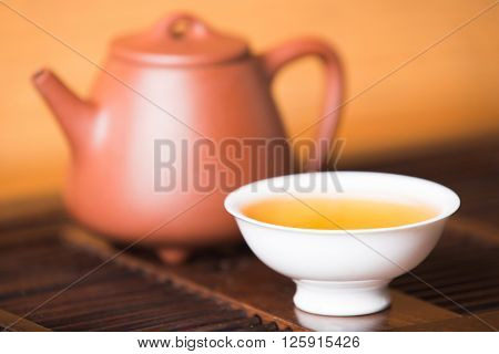 Chinese tea set on the tray Closeup.