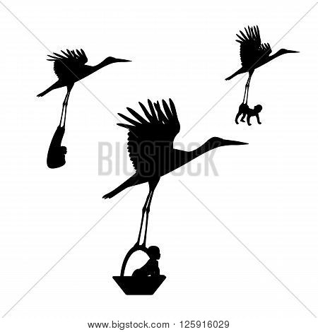 Vector illustration of a stork with a baby in a basket. Isolated white background.