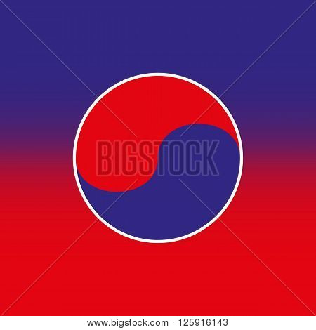 Vector illustration taekwondo icon. Red blue background.