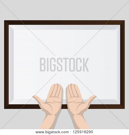 Two hands with shadow and brown frame