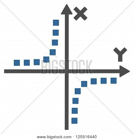 Hyperbola Plot vector toolbar icon. Style is bicolor flat icon symbol, cobalt and gray colors, white background, square dots.
