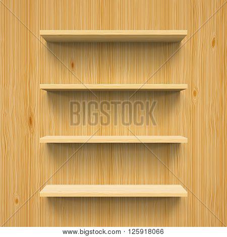 Horizontal wood bookshelves on the wall for design