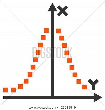 Gauss Plot vector toolbar icon. Style is bicolor flat icon symbol, orange and gray colors, white background, square dots.