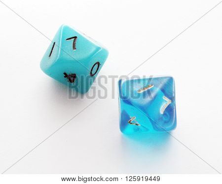 Ten side blue dice on white background
