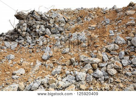Pieces of concrete and brick rubble debris on construction site on white background