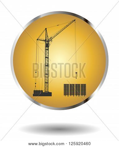 Vector golden icon with high detailed vector hoisting crane isolated on white with shadow. Vector illustration