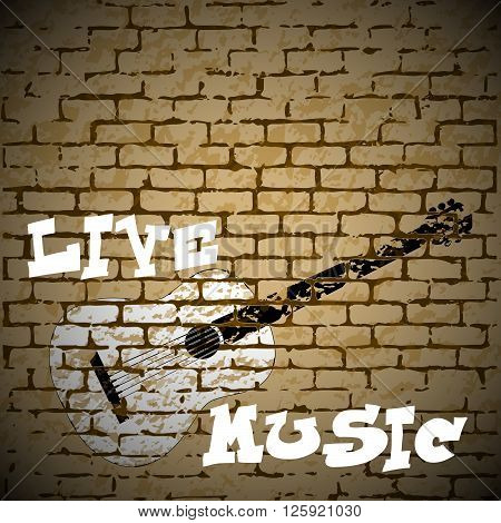 Stock Vector Live Music graffiti painted acoustic guitar on a brick background. There is room to place text or an image.