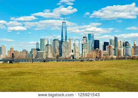 JERSEY CITY, NJ - MARCH 21, 2016: The City of New York as seen from Liberty State Park. The City of New York is the most populous city in the United States.
