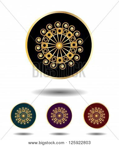 Vector Icon Logo Set 3 In 1 With Vintage Gothic Gold Ancient Sun Sign On Black, Green, Violet And Re