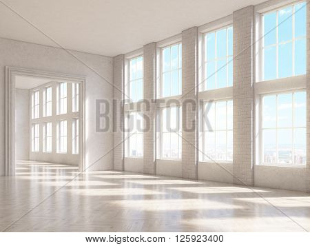 Sideview of brick interior with large windows and wooden floor. 3D Rendering
