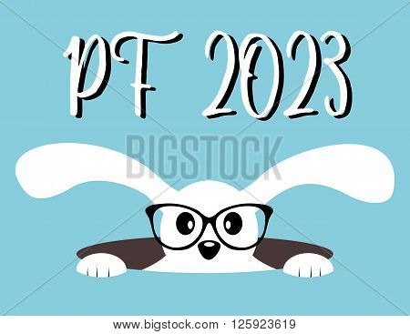 Happy New Year 2023. PF 2023. Chinese Year of the Hare. Hare in hole with glasses