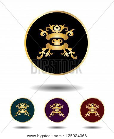 Vector Icon Logo Set 3 In 1 With Vintage Gothic Gold Mongolian Mask On Black, Green, Violet And Red