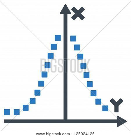 Gauss Plot vector toolbar icon. Style is bicolor flat icon symbol, smooth blue colors, white background, square dots.