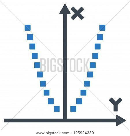 Parabole Plot vector toolbar icon. Style is bicolor flat icon symbol, smooth blue colors, white background, square dots.