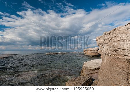 Monoliths and seascape in Mingan Archipelago National Park Reserve of CanadaQuebec Canada