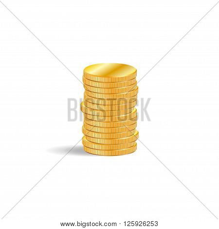 Stack of gold coins in 3D effect on white background
