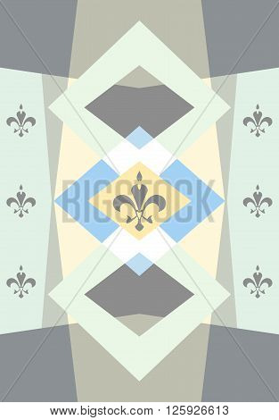 Pastel colored background with fleur de lis. Polygonal wallpaper