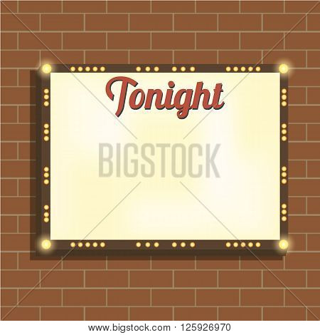 Marquee billboard advertising border bulbs. Blank illuminated panel for text. Illuminating marquee billboard to advertise show. Marquee banner border for cafe show cinema. Vector Illustration