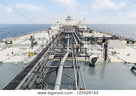Grey color deck of the tanker - view from foremast