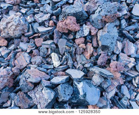 dark texture of burnt coal slag stones