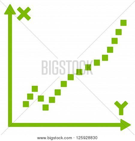 Function Plot vector toolbar icon. Style is flat icon symbol, eco green color, white background, square dots.
