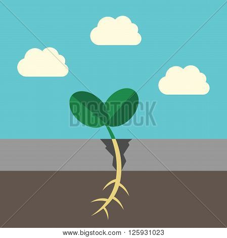 Young grass sprout growing and breaking asphalt on sky background. Growth ecology success nature and environment concept. EPS 8 vector illustration no transparency