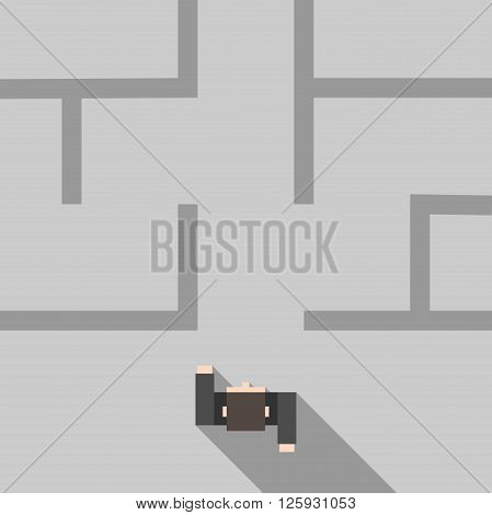 Confident man entering maze. Top view. Flat style. Strategy confidence business success problem solution and challenge concept. EPS 8 vector illustration no transparency
